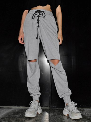 OneBling Eyelet Lace Up Detail Joggers with Cut Out Knee
