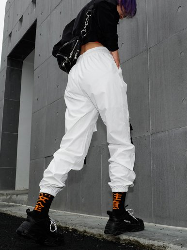 OneBling Contrast Ribbon Detail Cargo Pants In White