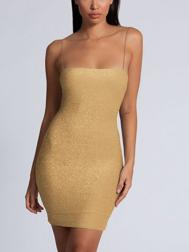 OneBling Thin Straps Glitter Bodycon Mini Dress