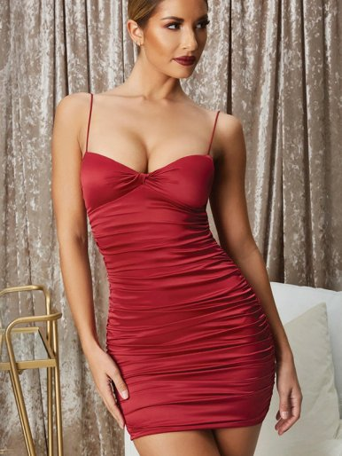 OneBling Knot Front Ruched Bodycon Dress In Satin