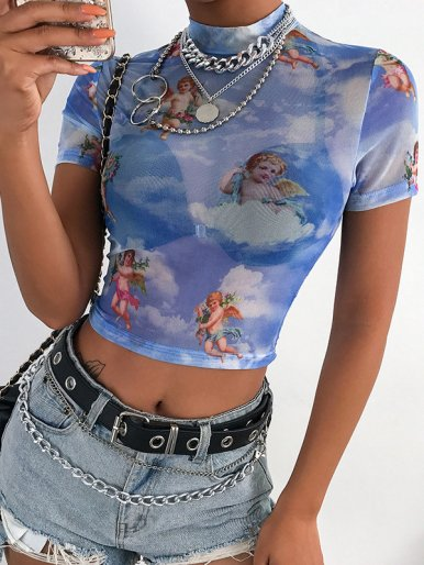 OneBling Cupid Print Mock Neck Sheer Mesh Tie Dye Crop Tops