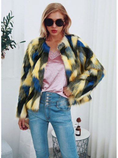 OneBling Plus Size Faux Fur Jacket In Multi