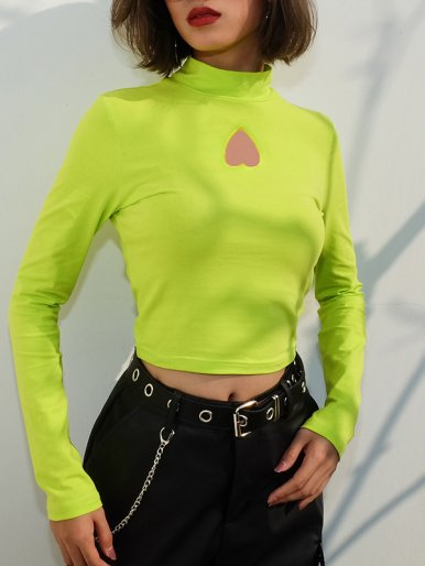 Long Sleeve Crop Tops with Heart Cut Detail
