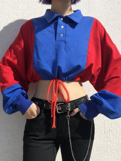 Contrast Panel Dropped Shoulder Crop Sweatshirt