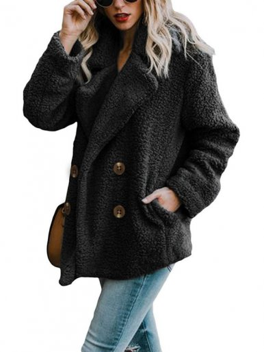 Plus Size Double Breasted Faux Fur Coat with Pockets