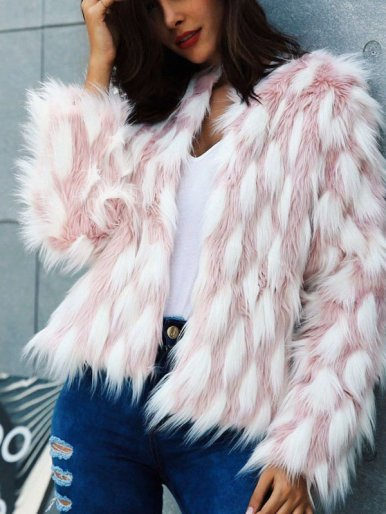 OneBling Plus Size Checke Faux Fur Jacket