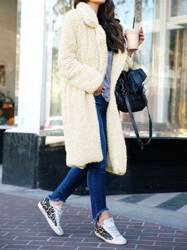 Plus Size Longline Faux Fur Coat