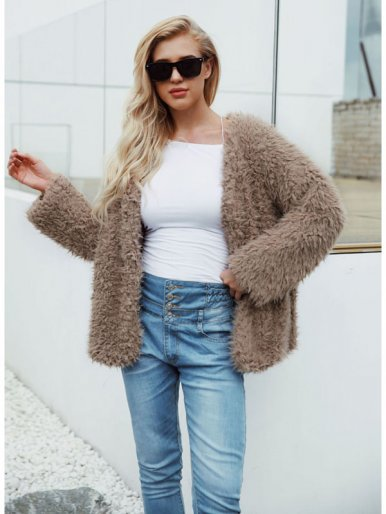 Plus Size Fluffy Faux Fur Jacket