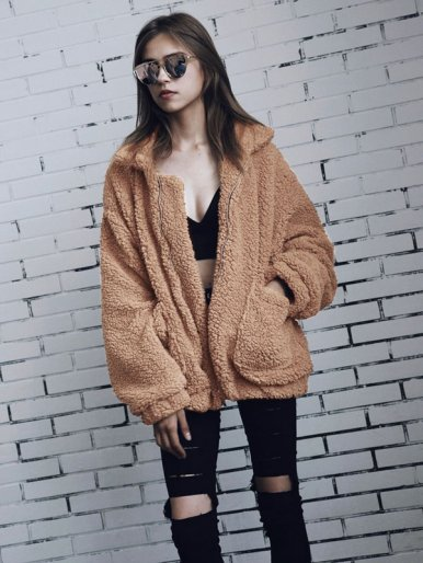 Plus Size Soft Teddy Faux Fur Zipper Jacket