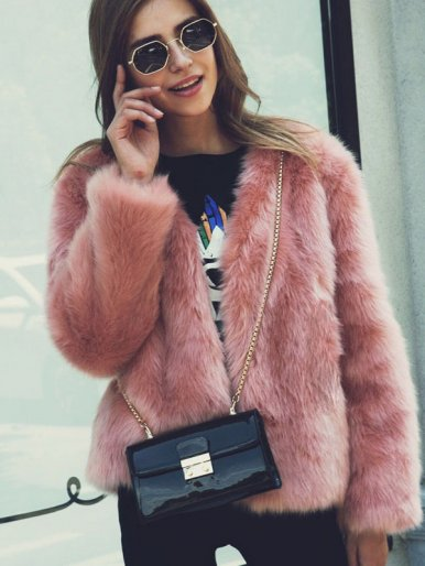 Plus Size Solid Color Fluffy Faux Fur Jacket