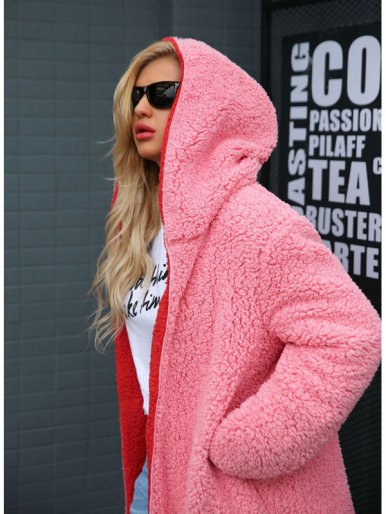 Plus Size Hooded Longline Faux Fur Jacket with Contrast Liner
