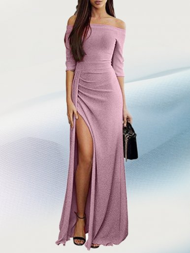 OneBling High Split Glitter Off Shoulder Maxi Dress