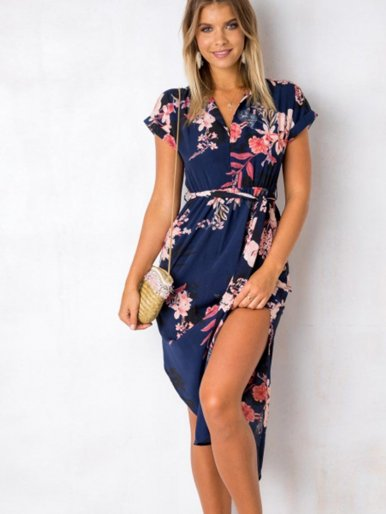 OneBling Womens Dresses Summer Casual V-Neck Floral Print Pattern Belted Dress