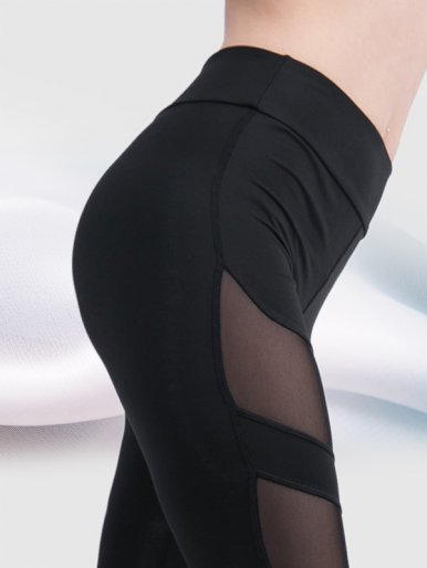 OneBling Patchwork Mesh Women Slim Leggings Workout Fitness High Waist Leggings