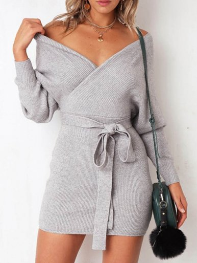 OneBling Plus Size Wrap Front Knit Mini Dress with Belt and Batwing Sleeve