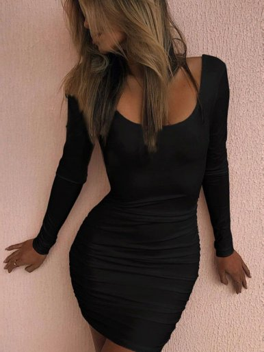 OneBling Open Back Long Sleeve Ruched Bodycon Dress
