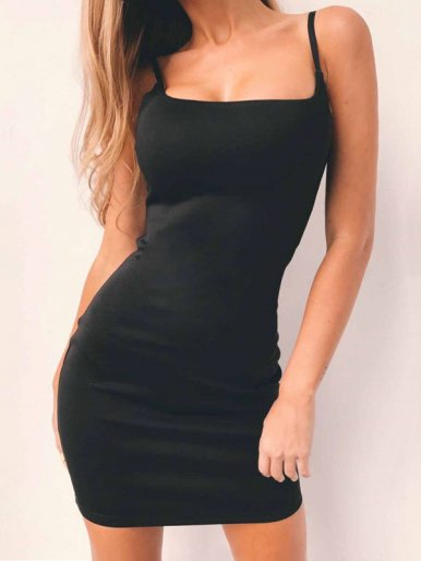 OneBling Solid Color Bodycon Mini Dress