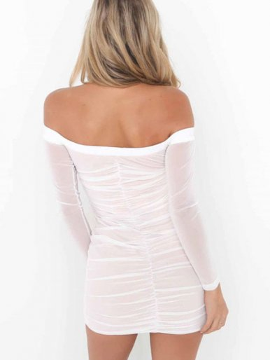 OneBling Long Sleeve Mesh Ruched Bardot Dress with Fringe Detail