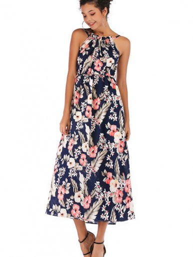 OneBling Floral Print Smock Maxi Dress