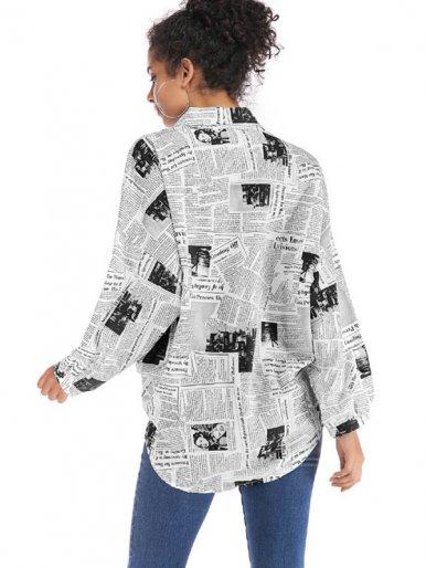 OneBling Batwing Sleeve Loose Shirt with Dip Hem In Newspaper Print