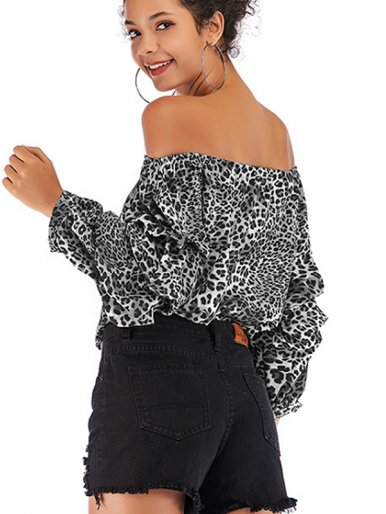OneBling Printed Off Shoulder Chiffon Tops