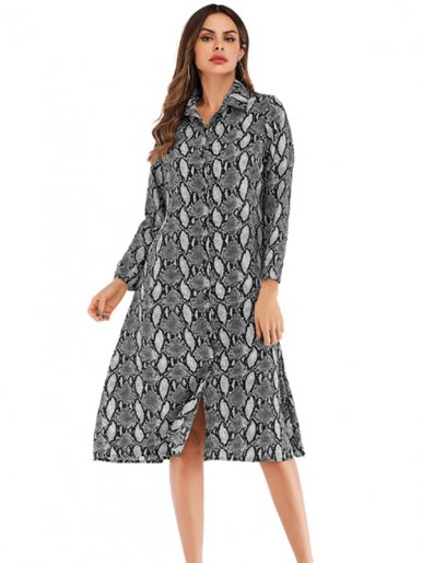 OneBling Long Sleeve Chiffon Shirt Dress In Animal Print