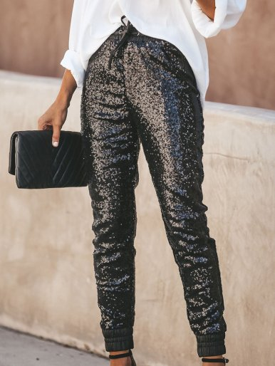 OneBling Drawstring Waist Sequins Pencil Pants