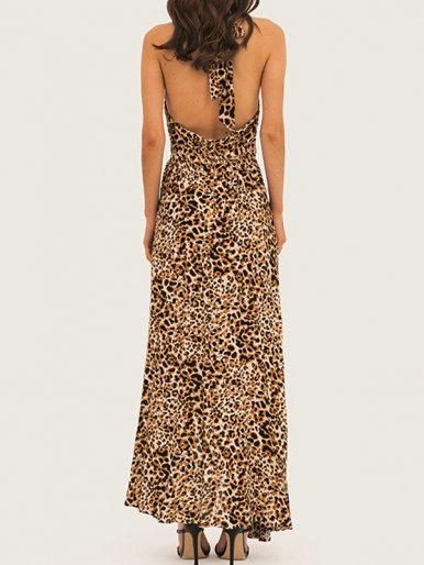 Open Back Leopard Print Maxi Dress with Ruffles Detail