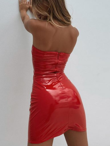 OneBling Mini Bandeau Dress In High Shine Faux Leather