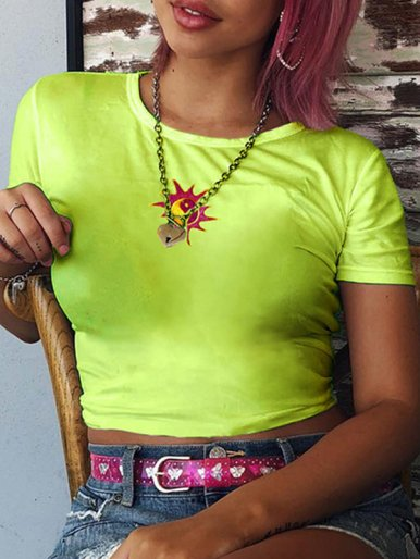 OneBling Crop T-Shirt with Embroidered In Bright Green