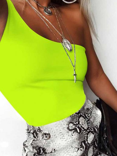 OneBling One Shoulder Sleeveless Bodysuit In Neon Green