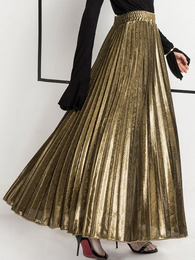 Metallic Pleated High Waist Maxi Skirt