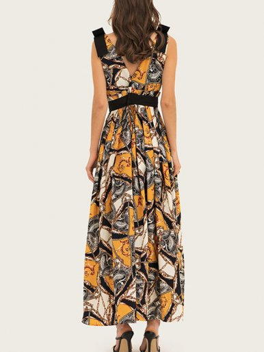 V Neck Smock Maxi Dress with Shoulder Detail In Ornate Print