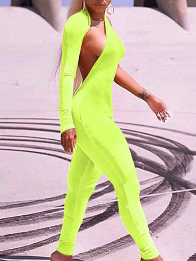 OneBling One Shoulder Jumpsuit with Long Sleeve In Neon Green