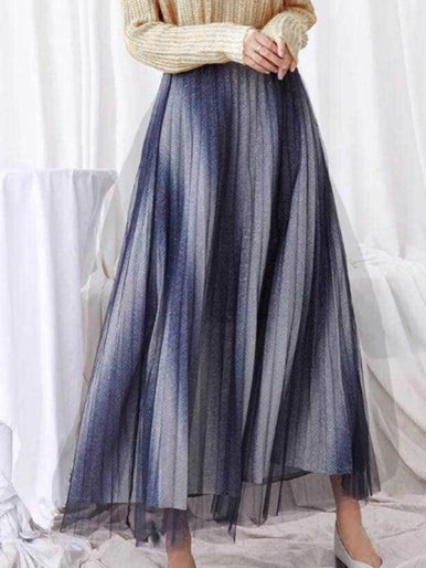 OneBling Pleated Midi Skirt with Contrast Panel and Mesh Layer