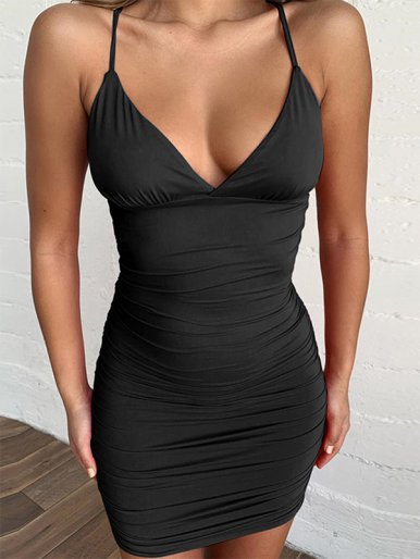 OneBling V Neck Ruched Mini Dress with Strappy Back