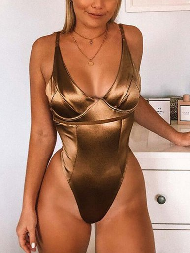 OneBling Shiny Plunge Bodysuit with Corset Detail