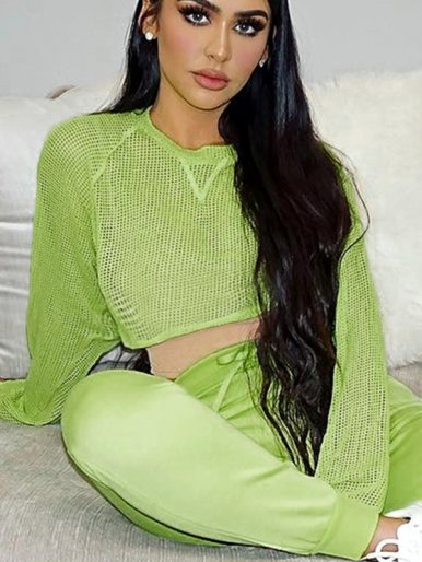OneBling Long Sleeve Bright Green Fishnet Mesh Crop T-Shirt
