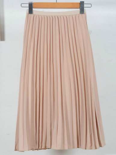 OneBling Pleated Midi Skirt with Thin Waistband