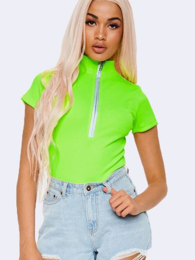 OneBling Neon Green Short Sleeve Bodysuit with Zipper Detail