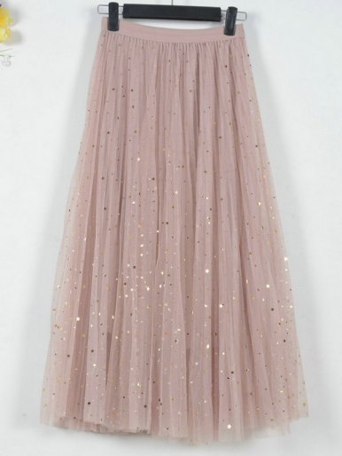 OneBling Two Layer Mesh Pleated Maxi Skirt with Sequins Embellished