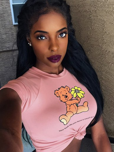 OneBling Cute Bear Print Slim Fit Crop Tops In Pink