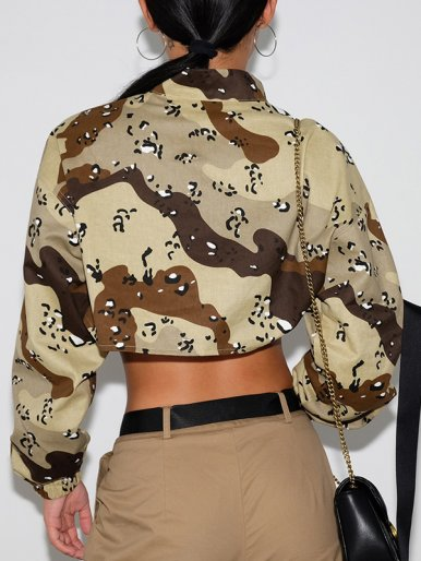 OneBling Zipper Front Ultra Short Camo Sweatshirt with Ribbon