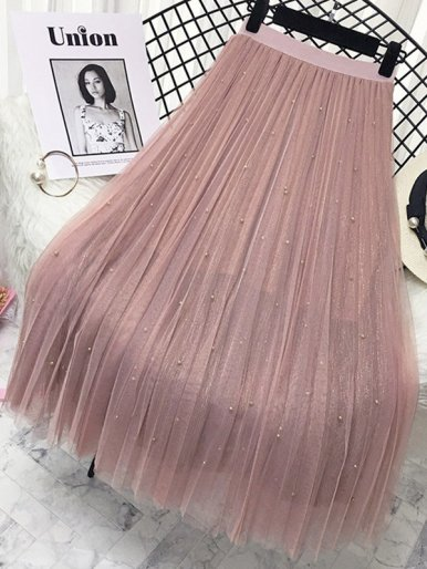 Mesh Overlay Glitter Knit Pleated Skirt with Embellished