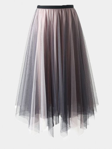 Mesh Midi Pleated Skirt with Asymmetric Hem