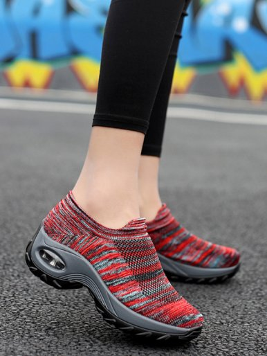 OneBling Spring Autumn Air Cushion Shoes Women 2019 Breathable Knitting Sock Platform Sneakers Increase Height