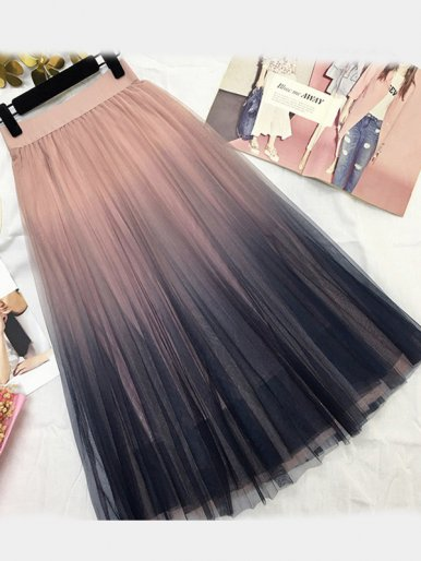 OneBling Pleated Maxi Skirt with Ombre Mesh Layer
