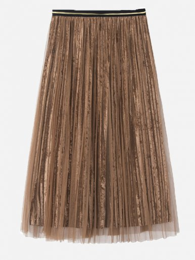 OneBling Mesh Overlay Velvet Pleated Skirt with Contrast Waist