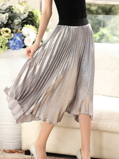 OneBling Asymmetric Hem Metallic Pleated Skirt With Contrast Waist