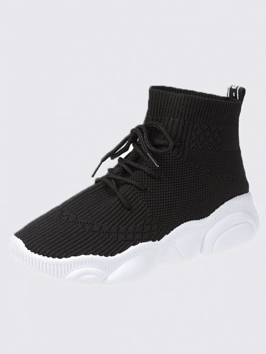 OneBling Black White Knitted Chunky Platform Sock Trainers Women